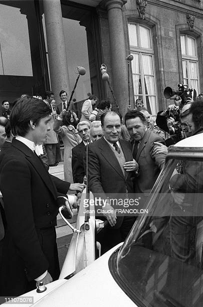 Francois MiTerrand receives Alain Poher at the Elysee in Paris France on May 24th 1974 Francois Mitterrand getting into a Citroen DS car