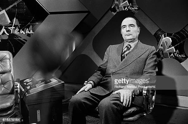 Francois Mitterand First Secretary of the Socialist Party in France is interviewed by four journalists on the television show Point sur A2