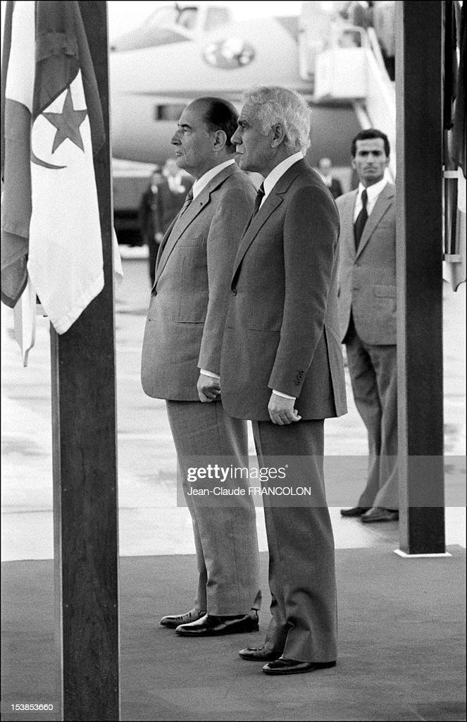 Francois Mitterrand and Chadli Bendjedid on November 30, 1981, in Algiers, Algeria.
