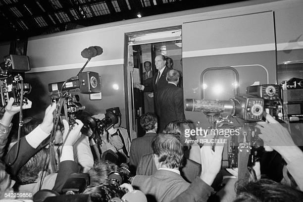 Francois Mitterrand and Family at TGV Inauguration