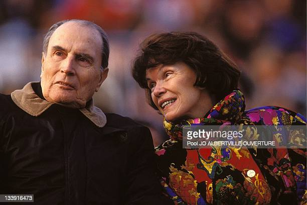 Francois Mitterrand and his wife Danielle Mitterrand at the opening ceremony of the Alberville Olympics on February 8 in AlbervilleFrance