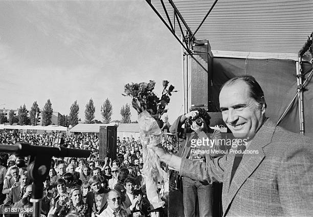 Francois Mitterrand attends the annual Socialist Party's Fete de la Rose in Creil Mitterrand was the leader of the Parti Socialiste before becoming...