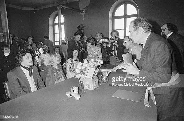 Francois Mitterrand leader of the French Socialist Party officiates his son's wedding held at the Chateau de Chinon Mitterrand's son JeanChristophe...