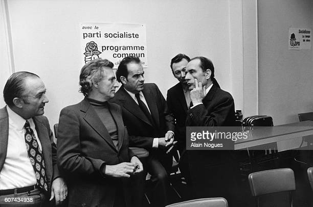 Francois Mitterrand meets Communist Party leaders From left are Unknown Roland Leroy Georges Marchais Paul Laurent and Mitterrand