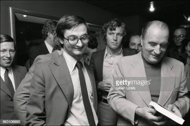 Francois Mitterrand on Europe 1 radio to comment ministerial reworkingIn background on the left journalist Alain Duhamel center journalist Bruno...