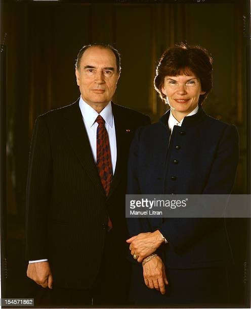 Francois Mitterrand posing with his wife Danielle in 1982 for coverage of the 1722 issue of Paris Match