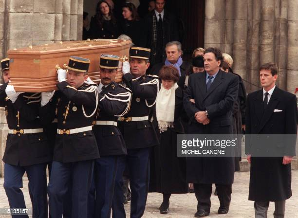 Francois Mitterrand's widow Danielle Mitterrand her son JeanChristophe Anne Pingeot French President Mitterrand's partner French actor Roger Hanin...