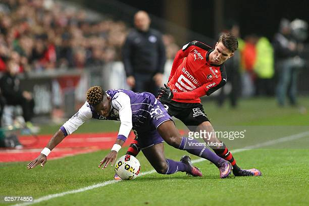 Francois Moubandje of Toulouse and Adrien Hunou of Rennes during the French Ligue 1 match between Rennes and Toulouse at Roazhon Park on November 25,...