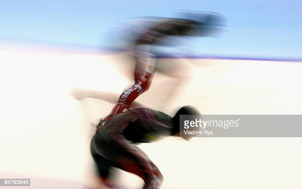Francois O Roberge and his team mate Steven Elm of Canada compete at the 1500m race during the Essent ISU speed skating World Cup at the Thialf...