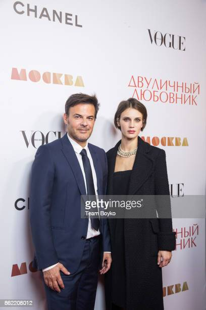 Francois Ozon and Marine Vacth attend the 'L'Amant Double' premiere on October 16 2017 in Moscow Russia