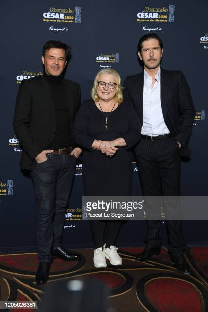 Francois Ozon, Josiane Balasko and Melvil Poupaud attend the Cesar 2020 - Nominee Luncheon At Le Fouquet's on February 09, 2020 in Paris, France.