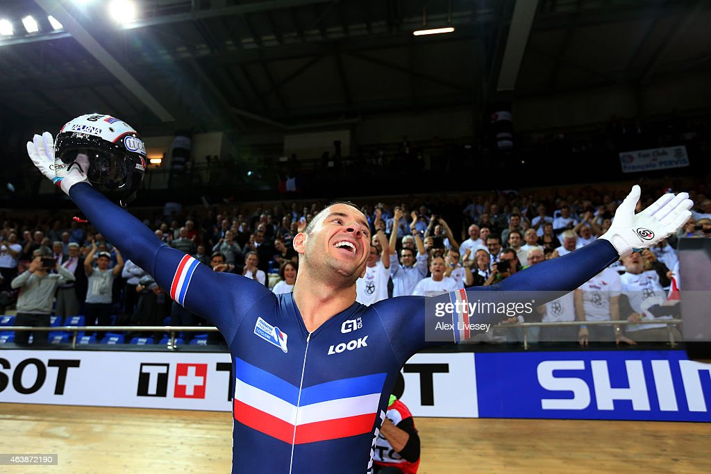 Francois Pervis of France celebrates winning the gold in Men's Keirin Final during day two of the UCI Track Cycling World Championships at the National Velodrome on February 19, 2015 in Paris, France.