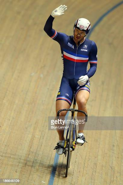 Francois Pervis of France celebrates winning the Men's Keirin Final on day two of the UCI Track Cycling World Cup at Manchester Velodrome on November...