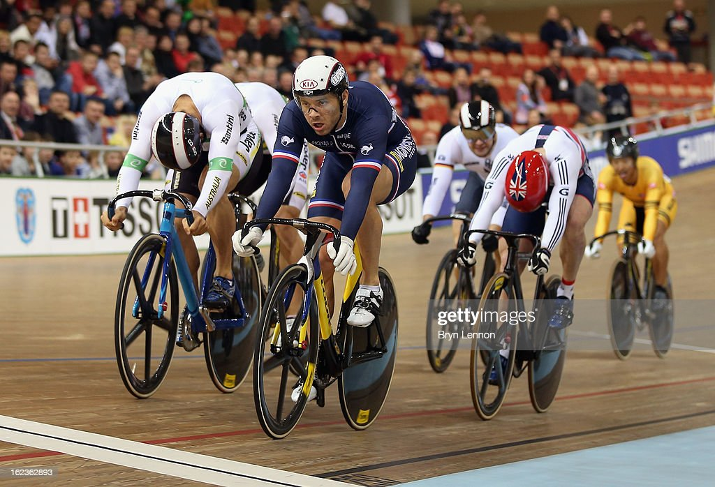 Francois Pervis of France crosses the line to win the second round of the Men's Keirin during day three of the 2013 UCI Track World Championships at the Minsk Arena on February 22, 2013 in Minsk, Belarus. (Photo by Bryn Lennon/Getty Images) Pervis was relegated by officials for impeding a rider on the inside.