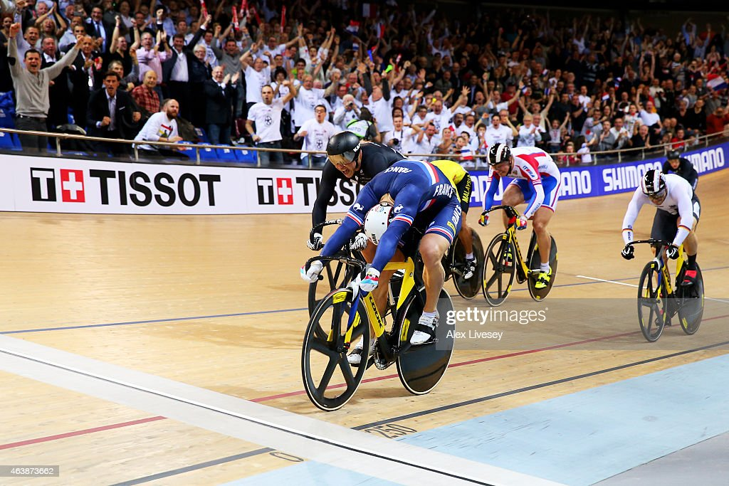 Francois Pervis of France wins the gold in Men's Keirin Final during day two of the UCI Track Cycling World Championships at the National Velodrome on February 19, 2015 in Paris, France.