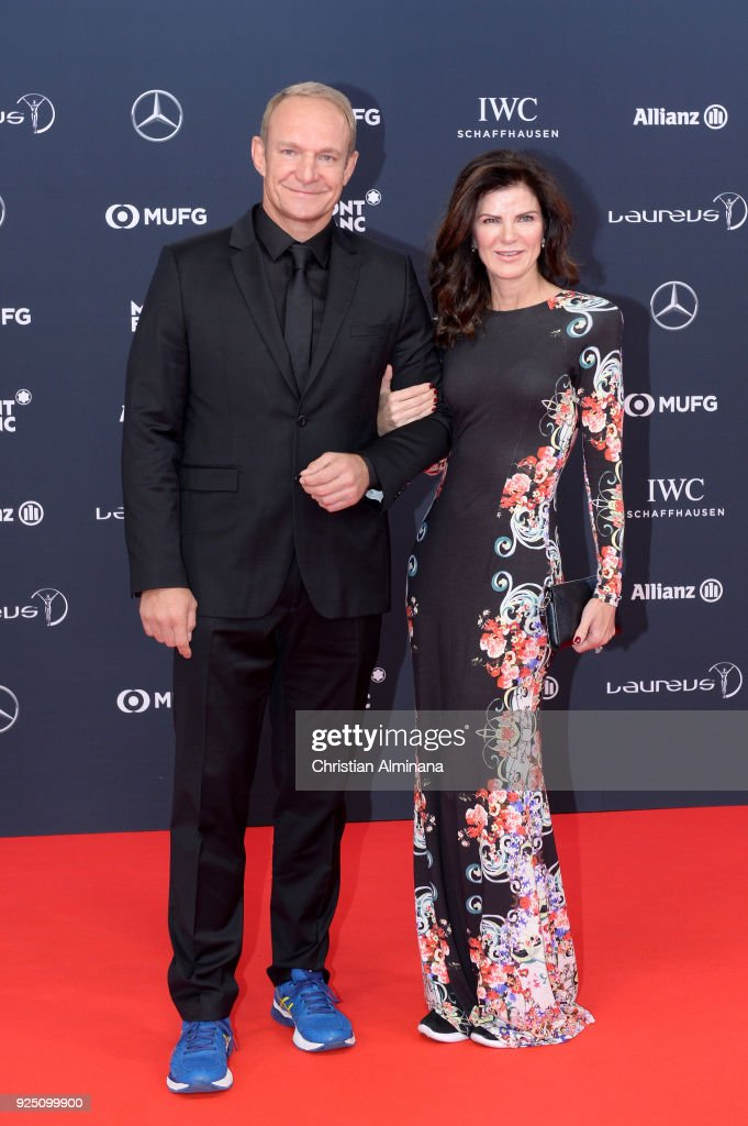 Francois Pienaar and guest attend the 2018 Laureus World Sports Awards at Salle des Etoiles, Sporting Monte-Carlo on February 27, 2018 in Monaco, Monaco.