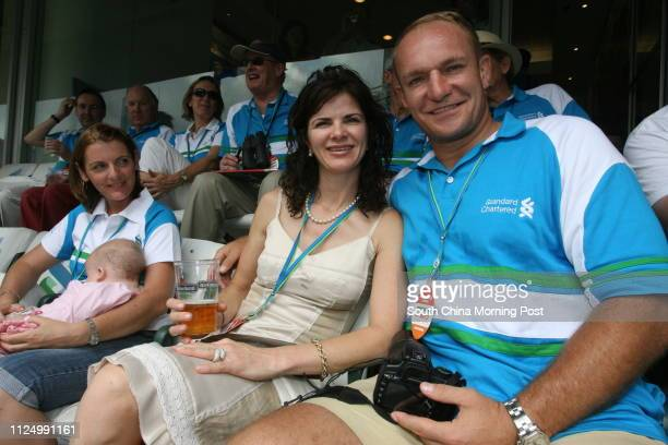 ONLY*** Francois Pienaar and his wife Nerine in the Standard Chartered Box at the Hong Kong Stadium on the second day of Rugby Sevens 31 March 2007