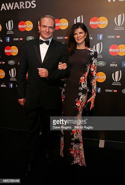 Francois Pienaar and his wife Nerine Winter arrive during the World Rugby via Getty Images Awards 2015 at Battersea Evolution on November 1 2015 in...
