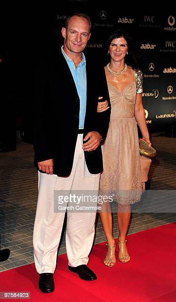 Francois Pienaar and his wife Nerine Winter attends the Laureus Welcome Party part of the Laureus Sports Awards 2010 at the Fairmount Hotel on March...