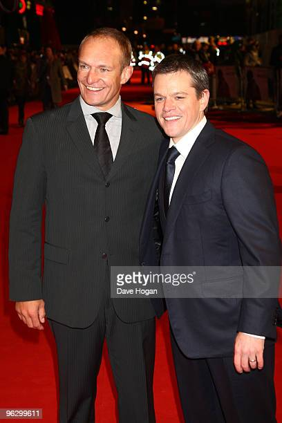 Francois Pienaar and Matt Damon attend the UK premiere of Invictus held the at The Odeon West End on January 31, 2010 in London, England.