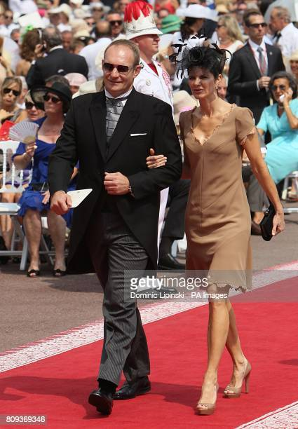Francois Pienaar and wife Nerine arriving for the wedding of Prince Albert II of Monaco and Charlene Wittstock at the Place du Palais