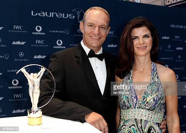 Francois Pienaar and wife Nerine Winter arrive at the Laureus World Sports Awards 2010 at Emirates Palace Hotel on March 10 2010 in Abu Dhabi United...