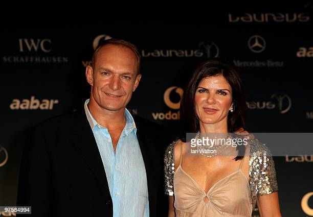 Francois Pienaar and wife Nerine Winter attend the Laureus Welcome Party part of the Laureus Sports Awards 2010 at the Fairmount Hotel on March 92010...