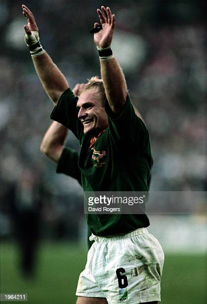 Francois Pienaar of South Africa celebrates his teams victory after the Rugby World Cup final between South Africa and New Zealand held on June 24...