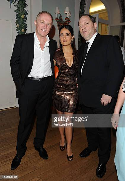 CANNES FRANCE MAY 15 Francois Pinault actress Salma Hayek and Harvey Weinstein attend the Vanity Fair and Gucci Party Honoring Martin Scorsese during...