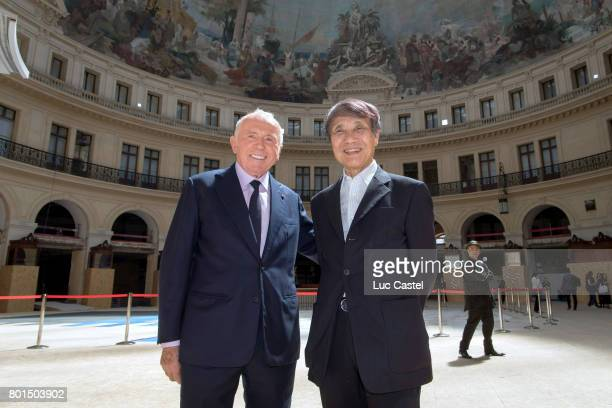 Francois Pinault and Architect Tadao Ando attend the Press Conference to announce the transformation of the former Paris Stock Exchange into the New...