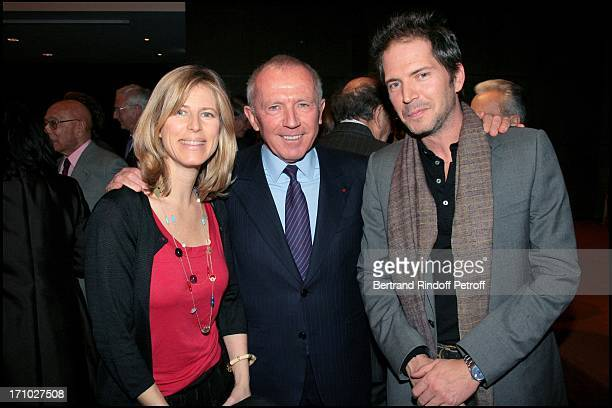Francois Pinault and Caroline and Christopher Thompson Florence of Botton is made knight in the Order of Legion of Honor in Christie's halls where...