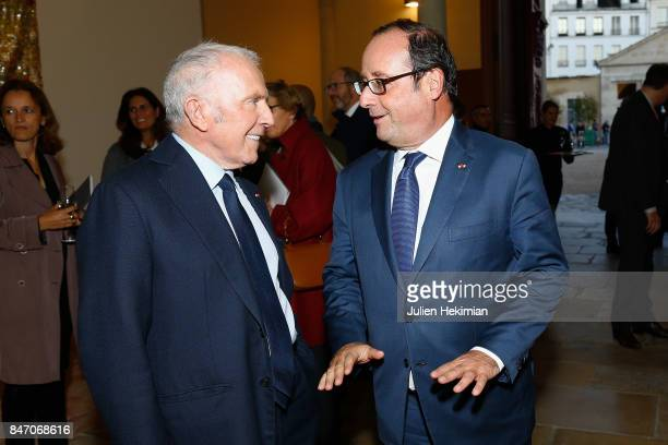 Francois Pinault and Former French President Francois Hollande attend the 'Faire Avec' Works from the Pinault Collection Private Preview at 40 Rue de...