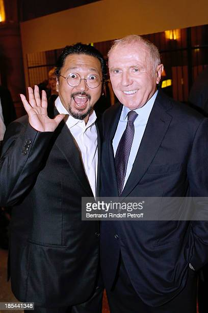 Francois Pinault and Japanese Artist Takashi Murakami attend 'A Triple Tour' Francois Pinault Collection Exhibition opening at the Conciergerie on...
