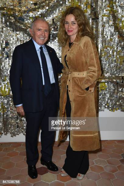Francois Pinault and Marine Delterme attend exhibition 'Faire Avec' works from the Pinault Collection at 40 Rue de Sevres on September 14, 2017 in...