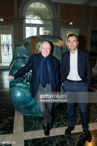 Francois Pinault and Martin Bethenod attend Damien Hirst's exibition at Pallazzo Grassi during the 57th Venice Biennale on May 10, 2017 in Venice,...