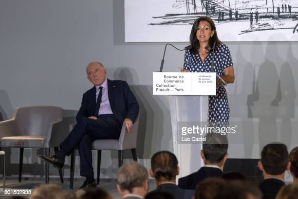 Francois Pinault and Mayor of Paris Anne Hidalgo attend the Press Conference to announce the transformation of the former Paris Stock Exchange into...
