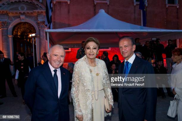 Francois Pinault and SAI Farah Pahlavi attend the Cini party during the 57th International Art Biennale on May 10 2017 in Venice Italy