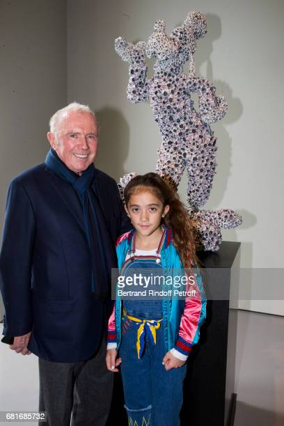 Francois Pinault and Valentina Pinault attend Damien Hirst's exibition at Punta Della Dogana during the 57th Venice Biennale on May 10, 2017 in...