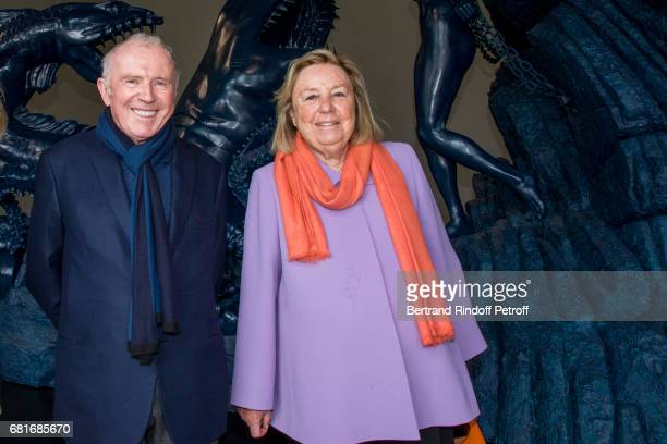 Francois Pinault and wife Maryvonne Pinault attend Damien Hirst's exibition at Pallazzo Grassi during the 57th Venice Biennale on May 10, 2017 in...