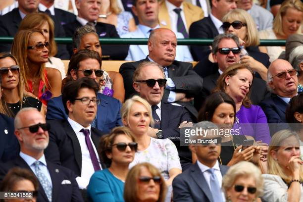 Francois Pinault looks on from the centre court royal box prior to the Gentlemen's Singles final between Roger Federer of Switzerland and Marin Cilic...