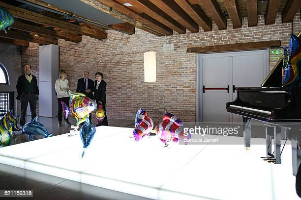 Francois Pinault with his wife attend the press opening of 'Accrochage' Exhibition at Punta della Dogana on April 14 2016 in Venice Italy The...