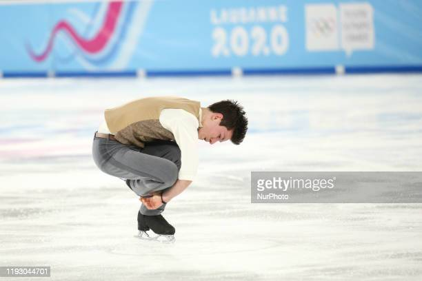 Francois Pitot from France competes during Man Single Skating short programme during Winter Youth Olympic Games, Lausanne 2020 in Skating Arena in...