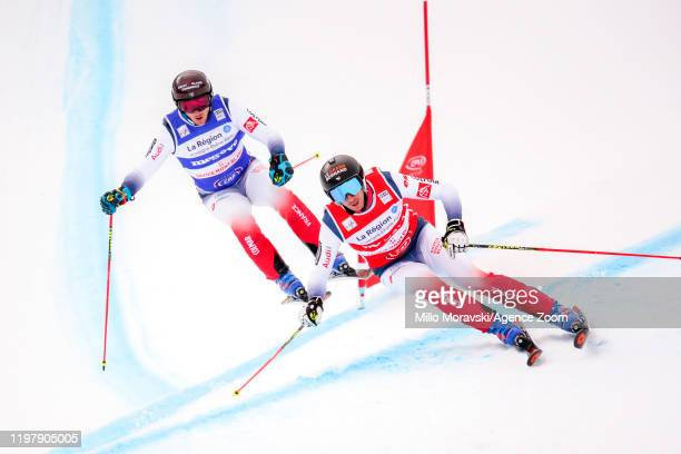 Francois Place of France in action, Jonathan Midol of France in action during the FIS Freestyle Ski World Cup Men's and Women's Ski Cross on February...