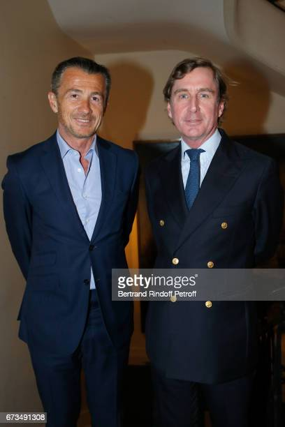 Francois Sarkozy and Prince CharlesHenri de Lobkowicz attend the presentation of the Book 'Scenes De Crime au Louvre' written by Christos...