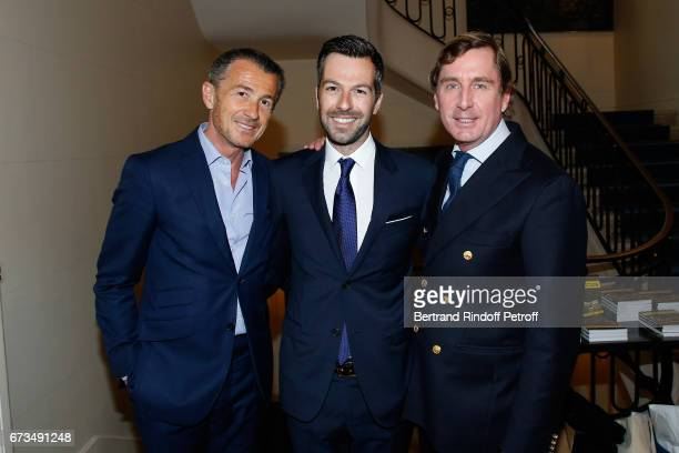Francois Sarkozy Christos Markogiannakis and Prince CharlesHenri de Lobkowicz attend the presentation of the Book 'Scenes De Crime au Louvre' written...
