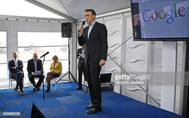 Francois Sterin director of the Global Infrastructure Google speaks during a press conference in Eemshaven on September 23 2014 The American...