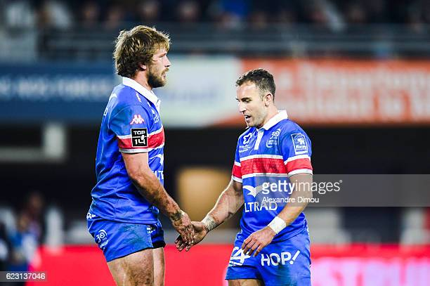 Francois Steyn and Demetri Catrakilis of Montpellier during the Top 14 match between Montpellier and Lyon on November 12 2016 in Montpellier France