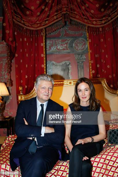 Francois Tajan and his wife Veronique attend Once Upon a Time The Ritz Paris Auction Coktail Party at Artcurial on April 11 2018 in Paris France