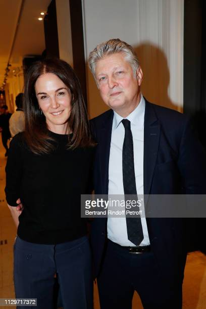 Francois Tajan and his wife Veronique Tajan attend Le Monde de Marie Beltrami exhibition at Artcurial on February 14 2019 in Paris France