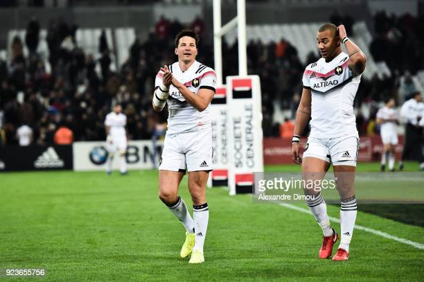 Francois Trinh Duc and Gael Fickou of France celebrates the win during the NatWest Six Nations match between France and Italy at Stade Velodrome on...